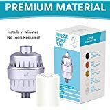 Universal Shower Filter and Water Softner - High Output Shower Water Filter, Hard Water Treatment, Chlorine & Other Harsh Chemicals - Includes Replaceable Multi-Stage Filter Cartridge - Chrome
