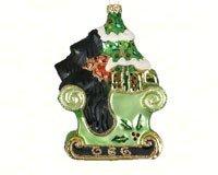 Margaret Cobane ~ Glass Black Scottie's Sleigh Ride Christmas Ornament (Crest Christmas Ornament)