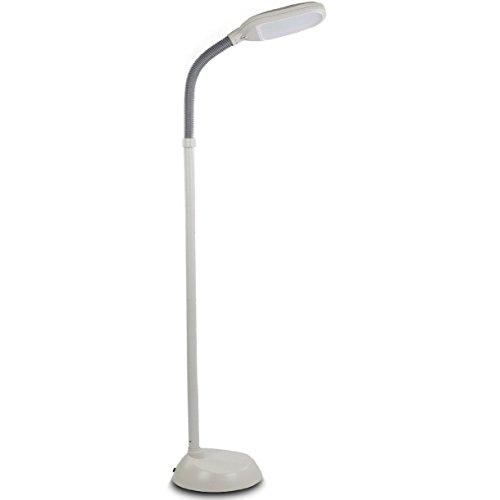 Baltoro LED Floor Lamp - Soft White Reading Light - Built-in 2 Brightness Levels - Adjustable Head Pivots in Any Direction Save Energy 12 Watts - White Color - (Adjustable Brightness Led)