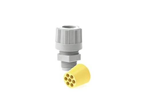 Woodhead 5595-005W Cable Strain Relief Grip, O-Ring, Locknut, Max-Loc Cord Seal, Right Angle Male, Specialty Multi-Hole, 1/2'' NPT Thread Size, Gray Grommet Color, 2 or 3 Holes.250'' Cable Diameter