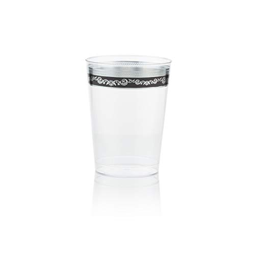 Posh Setting Royal Collection Clear Plastic 10 oz. Tumblers (Cups) with Silver/Black Design 40 Pack