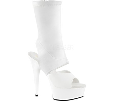 Pleaser DELIGHT-1022 - Zuecos para mujer Wht Str Faux Leather/Wht