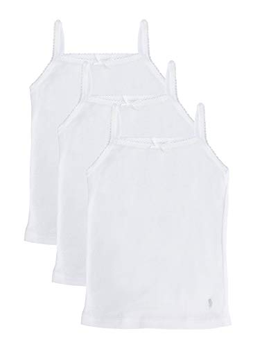 Feathers Girls Solid White Tagless Cami Super Soft Undershirts (3/Pack) 12 yrs, White
