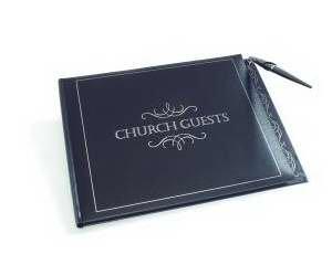 Guest Bk-Church Guests-LRG-Blk w/Gold Pen