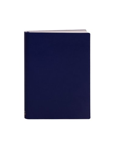 Paperthinks Navy Blue Large Slim Ruled Recycled Leather Notebook, 4.5 x 6.5-inches