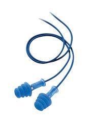 FDT-30 Fusion 4-Flange Blue Thermal Plastic Urethane Corded Earplugs (100 Pairs)