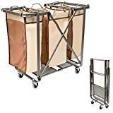 (SEINA Heavy Duty Foldable Laundry Sorter with Removable Odor Resistant Bags Use, No Assembly Required, Folds Flat for Easy Storage-Super Smooth Glide Wheels-(Brown))