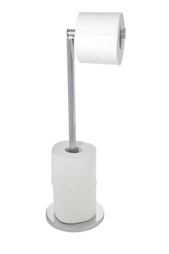 WENKO 19637100 Stand Toilettenpapierhalter 2 in 1, Edelstahl rostfrei, 25.5 x 54 x 18 cm, Glänzend