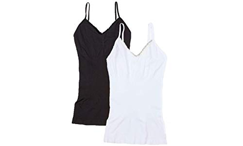 EAG Women's Lace Trim Firm Compression Shaping Camisole in Regular and Plus Size (2-Pack) (Medium, Black, White) ()