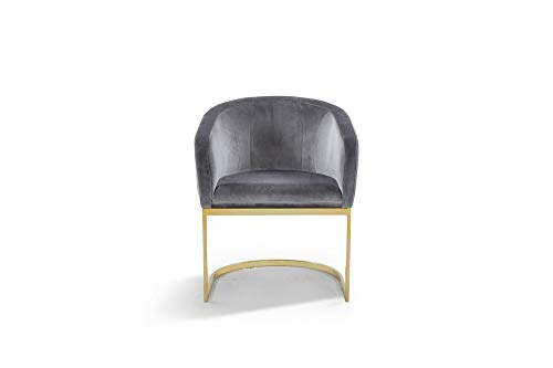 (Iconic Home FAC9100-AN Siena Accent Club Chair Shell Design Velvet Upholstered Half-Moon Gold Plated Solid Metal U-Shaped Base Modern Contemporary Grey)