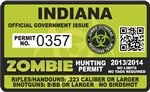 "Yellow Dog Indiana in Zombie Hunting Permit Decal 4"" x 2.4"" Outbreak Sticker"
