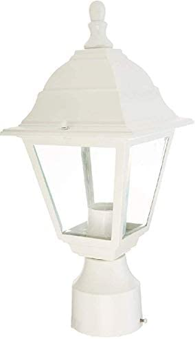 Ciata Lighting 1 Light Outdoor Aluminium Post Lantern in White Finish with Clear Glass, Voltage 120, wattage 60, Single Post Mount Type.