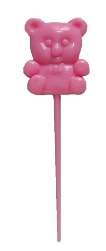 Teddy Bear 3 Inch Pink Picks 18 Pc