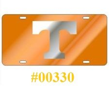 Tennessee Laser Cut Inlaid Mirror Tag #00330 Orange Back Ground with Silvse (T) by Unknown