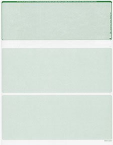 2500 Blank Security Check Paper Checks on Top Green Classic