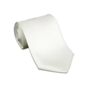 K Alexander Men's Solid WHITE Tie