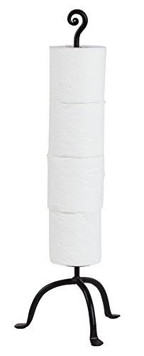 Iron Toilet - RTZEN Wrought Iron Swirl 4 Rolls Storage Toilet Paper Stand | Free Standing TP | Handcrafted Décor