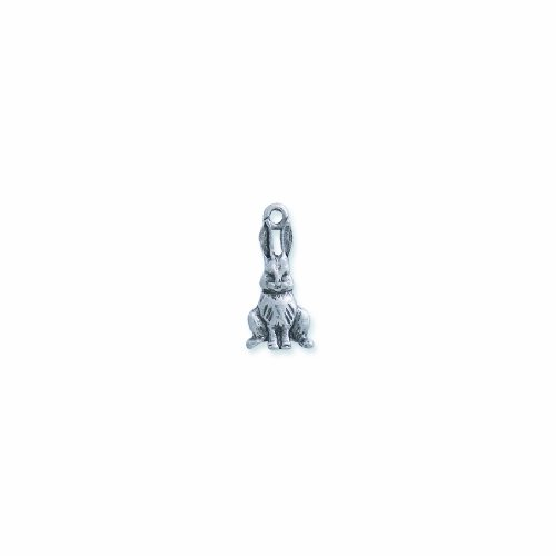 (Shipwreck Beads Pewter Bunny Charm, Silver, 12 by 25mm,)
