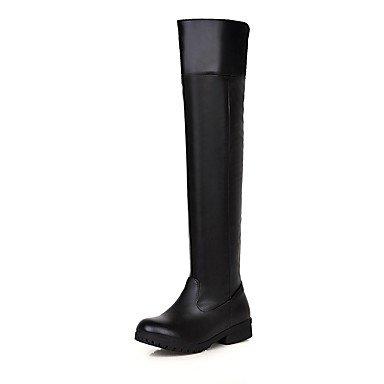 Mujer Redonda De Sobre RTRY Plana Vestimenta Puntera US8 UK6 Botas Botas EU39 Rodilla Zapatos Casual Para La Invierno Moda Marrón Negro CN39 Talón Botas Polipiel 7vvw5E