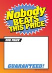D30NBT ''Nobody Beats This Price'' Unstrung Drill Sale Tags (No Strings) Small Price Cards - 3 1/2'' x 5'' (100 Pack) Furniture, Flooring, Business Store Signs