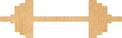 Barbell Laser Cut Out Wood Shape Craft Supply - Woodcraft (1/4 Inch, -