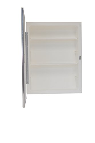 Mirrors and More Recessed Framed Mirror Bright Steel Medicine Cabinet | Adjustable Shelves | Bathroom | Kitchen | 16'' x 22'' by Mirrors and More