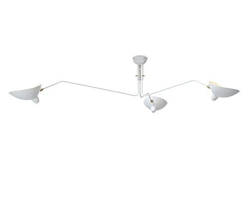 3 Arm Ceiling Lamp Pendant Mid Century Roting Arm Chandelier Metal Art Semi Flush Mount Ceiling Lamp Fixture,White