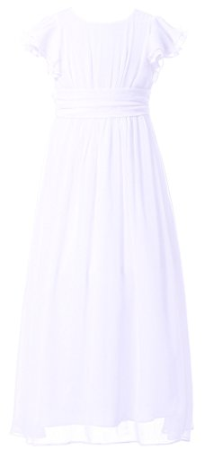 Happy Rose Flower Girl's Dress Prom Party Bridesmaid Dress Long White 16