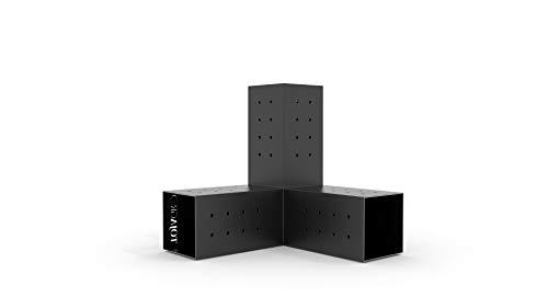 (TOJA GRID G021030MB1 Trio 2 Pack for 4x4 Wood Posts Modular Pergola Part, Black)