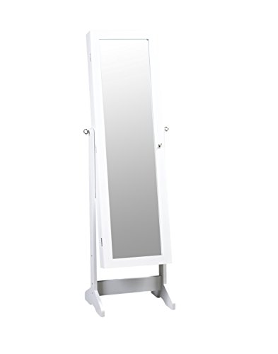 ViscoLogic Mirrored Jewelry Cabinet Armoire Stand, Mirror, Necklaces, Bracelets, Rings (White)