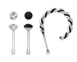 3 Pc Lot Black Cz Nose Bone Twist Half Hoop Piercing Bar Rings