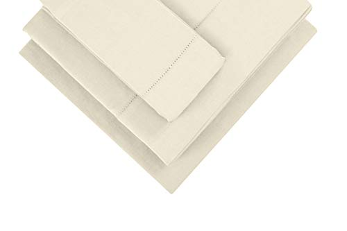 Infinite Weaves 300 TC Hemstitch Beige Bed sheet & Pillowcases Set, Long Staple Cotton, Soft Sateen Weave, Deep Pockets to Fit Any Mattress, 3pc Twin XL Bed Sheet Set, 1 -