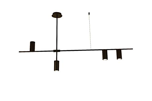 BOKT Contemporary Minimalist 4-Light Kitchen Island Pendant, Matte Black Lampshade Finish Flush Mount Lamp, Geometric Modern Linear Chandelier Lighting Fixture with Led ()