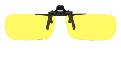 Polycarbonate Metal Clip On Flip Up Yellow Enhanced Driving Sunglass Lenses, True Rectangle, 51mm Wide X 29mm High, 113mm Wide with - Metal Polycarbonate