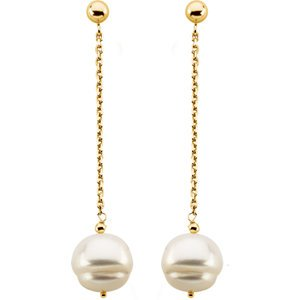 14K Yellow-Freshwater Cultured Pearl Earrings