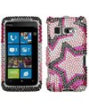 Htc Surround 8788 Twin Stars Diamante Diamond Studded Snap-on Cover / Shield Protector Case (Studded Twin)