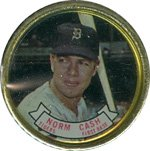 1964 Topps Metal Coins (Baseball) Card# 79 norm cash of the Detroit Tigers Ex Condition