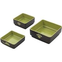 Four Square Cat Dish Color: Green