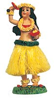 (Dashboard Hula Doll Girl with Uliuli 6.5'' tall 40607 Boxed - hawaii dashboard dolls - Perfect gift or souvenir - assorted colors)