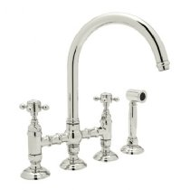 Rohl A1461LPWSPN-2 ROHL COUNTRY KITCHEN THREE LEG BRIDGE FAUCET WITH PORCELAIN LEVERS SIDESPRAY AND ^C^ SPOUT IN POLISHED NICKEL C.K 3-LG C BRDGE W/S PRC P.NK
