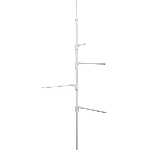 hind-The-Door Towel Bar Or Tension Corner Pole Towel Caddy, White ()