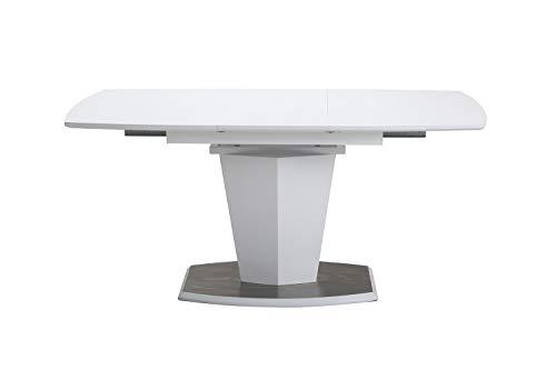 Meubletmoi - Mesa de Comedor Extensible 120/160 cm, Rectangular, Base Central de Acero y MDF - Diseno contemporaneo - Dona