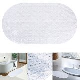 Danibos Bath Mat, Ultra Soft Non-slip Oval-shaped Antibacterial Bathroom Mat,kids Safety Bath Tub Shower Mat (clear, 27''X15'')