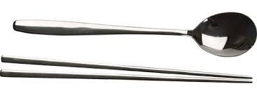 1 X Stainless Steel Chopstick & Spoon Set
