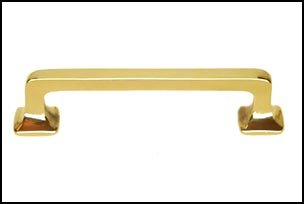 Mission Style Solid Brass Bar Handle   3.5 Inch   Polished Brass