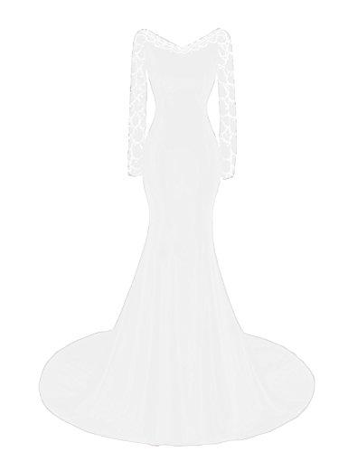 OYISHA Womens Long Sleeve Mermaid Evening Dress Beaded Wedding Gown Formal EV136 White Custom Beaded Bridal Gowns