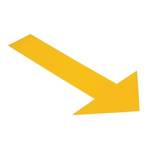 Ind Floor Tape Markers, Arrow, Yllw, PK 50