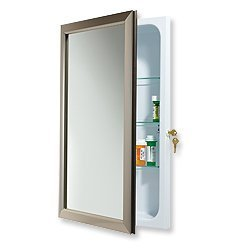 Jensen 625N244SNCL Hampton Locking Security Medicine Cabinet, 15-Inch by 25-Inch, Satin Nickel