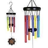 - Deerbird® Wooden Colorful Wind Chimes with 7 Different Color Metal Tubes Beech Wood Black Coated Wind Chime for Garden Patio Terrace and Outdoor Decoration