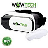 VR Headset Virtual Reality Headset Glasses,Vr Box V3.0 Goggles With Bluetooth Controller by WOWTECH, 3D Movies and Games on Smartphones 4~6 inch Android and Ios, with Ebook User Guide and Storage Bag""